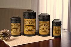 New Primitive Vintage Ad OLD COUNTRY CANISTER SET 4 Tin Canisters Black Mustard