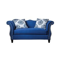 Loveseat: Furniture of America Regalia Romantic Style Love Seat -... (10.475 VEF) ❤ liked on Polyvore featuring home, furniture, sofas, royal blue, nailhead couch, nailhead trim sofa, royal blue furniture, colored furniture and romantic furniture