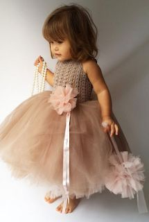 Pink and Brown Puffy Baby Girl Tutu Dress. Baby Flower Girl Tulle Dress with Lace Stretch Crochet Bodice. by AylinkaShop ♦F&I♦ Girls Tutu Dresses, Tutus For Girls, Little Girl Dresses, Flower Girl Dresses, Fashion Kids, Baby Girl Fashion, Baby Girl Tutu, Baby Dress, Flower Girls