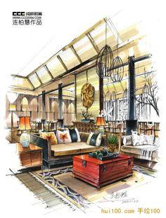 interior design rendering, sketch marker rendering, unknown designer