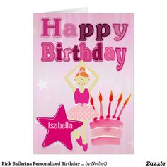 Pink Ballerina Personalized Birthday Card