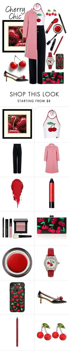 """""""Cherry Chic"""" by loves-elephants ❤ liked on Polyvore featuring Amanti Art, Topshop, IRO, Prada, Bobbi Brown Cosmetics, Edie Parker, Giorgio Armani, Betsey Johnson, Casetify and Gucci"""