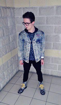 Calvin Klein Diy Studded Vintage Denim Jacket, Hooded Jumper, Black  Jeans, Dr. Martens 1490 Paint Splatter Boot With Yellow Laces