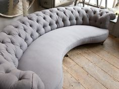 Curved grey sofa in from Alex Macarthur is part of Curved chesterfield sofa - Sofa Design, Console Design, Design Furniture, Sofa Furniture, Living Room Furniture, Sofas, Chesterfield Sofa, Couches, Sectional Sofas