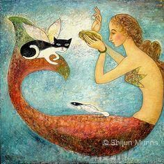 Items similar to Mermaid art print, Pearl Mermaid blue giclee print on paper by Shijun Munns-Art gift-Fantasy wall art-Oil painting print-Ocean art on Etsy Real Mermaids, Fantasy Mermaids, Mermaids And Mermen, Canvas Art, Canvas Prints, Art Prints, Mermaid Wall Art, Merfolk, Sea Creatures