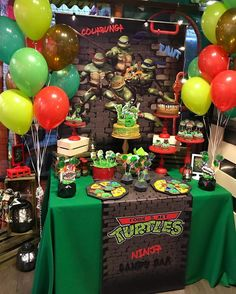 3rd Birthday Party For Boy, Ninja Turtle Birthday Cake, Turtle Birthday Parties, Carnival Birthday, Birthday Cakes, Ninja Party, Ninja Turtle Party, Ninja Turtles, Candy Bar Party