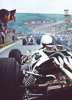 Downhill start at Spa Francorchamps F1GP. Seems easy: 1 foot on brake, 1 foot on clutch and 1 foot on throttle. A stone was often placed under a front tire to hold the car. A clever team might have installed a brake line lock switch on the shift lever. Colin?