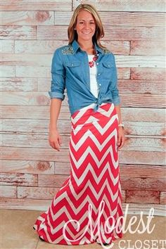 Kate Chevron Maxi Skirt with chambray shirt - cute for spring!