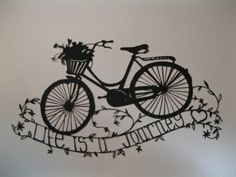 Bicycle Papercut by Beautiful Piglet Designs black drawing of bicycle over a path February 2015