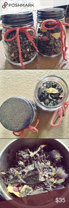 """""""Bring On the Blood"""" Tea This is a handmade, wildcrafted, sustainable tea, completely organic. Half the plants have been collected in a sacred way with the intention of bringing on a graceful, painless, magical & regular moon/menstruation cycle. intentional way with. It contains Lavender, Calendula, Chamomile, red clover buds, mugwort, white Sage, rose petals, Red Raspberry Leaf, Yarrow & Vetiver Root. Steep for 5 min & sip a few days before to help bring on the moon & prepare for an easeful…"""