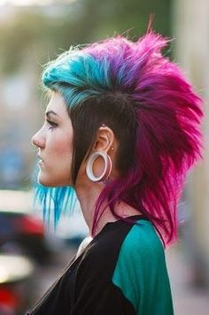 Blue, Purple, & Hot Pink Death Hawk Hair♡ #Hairstyle #Dyed_Hair #Beauty