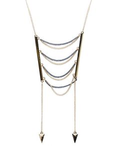 "<p>This gorgeous necklace is giving us bonafide boho! Designed with two tones of dainty chain-link, it features a metal bar on each side with draped chains in between and single chains at each side with a triangular stud pendant attached.</p>  <ul> 	<li>Lobster Clasp Closure</li> 	<li>19.5"" length</li> 	<li>Metal / Man Made Materials</li> 	<li>Imported</li> </ul>"