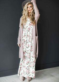 Pretty pink floral dress.