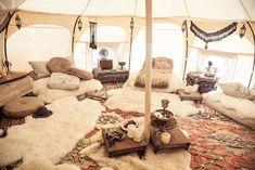 Yurt Interior, Bell Tent Interior Ideas, Interior Design, Lotus Belle Tent, Luxury Yurt, Yurt Tent, Yurt Living, Outdoor Living, Portable Tent
