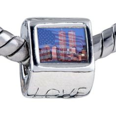 Pugster Bead American Twin Towers Beads Fits Pandora Bracelet Pugster. $11.24. Hole size is approximately 4.8 to 5mm. Unthreaded European story bracelet design. Fit Pandora, Biagi, and Chamilia Charm Bead Bracelets. Bracelet sold separately. It's the photo on the love charm. Save 10%!
