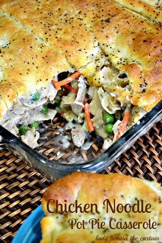 Chicken Noodle Pot Pie Casserole - Lady Behind The Curtain (with a great tip on freezing extra gravy! Casserole Dishes, Casserole Recipes, My Favorite Food, Favorite Recipes, Best Casseroles, Good Food, Yummy Food, One Pot Meals, How To Cook Pasta