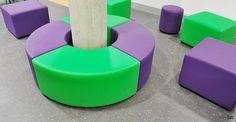 Purple green vinyl column seat