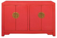 Chinese Sideboard in Red Lacquer | Chairish