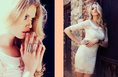 Sweet Dreams Dress, Triple Crystal Ring in Silver, Stacked Dagger Rings, Chained Cross Bracelet