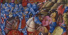 La Cavalleria di Alfonso V di Aragona carica gli infedeli. Miniatura contenuta al'interno del Libro delle Preghiere di Alfonso V (1436-1443)...