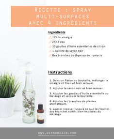 Diy Cleaners 430093833161804628 - Recette : Spray Nettoyant multi-surfaces fait maison avec 4 ingrédients – With Emilie Diy Cleaners, Green Life, Zero Waste, About Me Blog, Surface, Homemade, Motivation, Lifestyle, Natural Soaps
