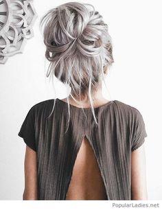 Grey hair messy style
