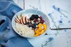 Frühstück, breakfast, breakie, gesundes Fürhstück, healthy breakfast, Joghurt Reis Bowl, Früchte, Reis Bowl, Fruit bowl, rice, bowl, breakfast idea, fruits, yoghurt rice bowl