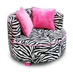 Cute for a girls room! Newco Kids Redondo Chair, Minky Zebra:Amazon:Baby