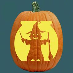 """One of 700+ FREE stencils for pumpkin carving and more! www.pumpkinlady.com """"Bewitching Baby"""" #FreePumpkinCarvingPattern"""