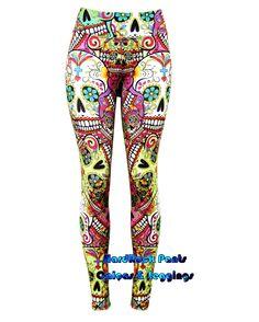 Calça Legging Estampa Caveira Mexicana ~ Cintura Alta   #calça #legging…