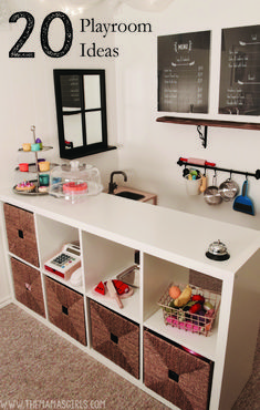 Kids Playroom Ideas...LOVE the menu and the bar for storage!