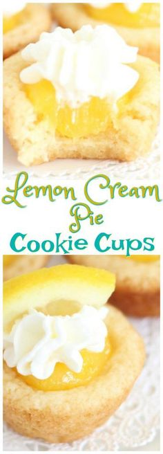 Cake mix sugar cookie cups, filled with homemade lemon curd, and topped with whipped cream, for bite-sized Lemon Cream Pie Cookie Cups!
