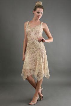 Great Gatsby Sue Wong Short Crochet Dress in Champagne @Debbie@Vintagedancer.com.com/1920s/1920s-flapper-dresses