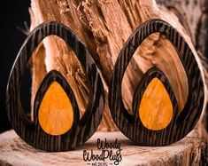 Ohm Symbol Wooden Ear Studs Round Wood Earring Unisex 10mm