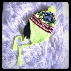 NWT Winter Hat  Super cute!!!! Cozy & warm -neon yellow, pink, and black winter wear (: High Desert Gear Accessories Hats