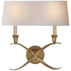 Cross Bouillotte Large Sconce in Antique-Burnished Brass with Natural Paper Shade Visual Comfort, Bathroom Sconces, Wall Sconces, Library Lighting, Snug Room, Brass Sconce, Circa Lighting, Wall Lights, Ceiling Lights