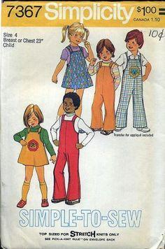 Vintage 70s Children Sewing Pattern Simplicity 7367 Jumper Overalls 4