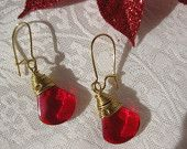 Spring Sale, Red Earrings,  Gold wrapped,  Gift,  Secret Gift.