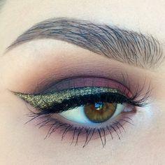 Makeup Geek Eyeshadows in Bitten, Corrupt, Creme Brulee and Shimma Shimma + Makeup Geek Pigment in Utopia. Look by: kaitlyn_nguy