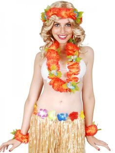 Let's Party With Balloons - Flower Lei Set - Orange, $8.00 (http://www.letspartywithballoons.com.au/flower-lei-set-orange/)