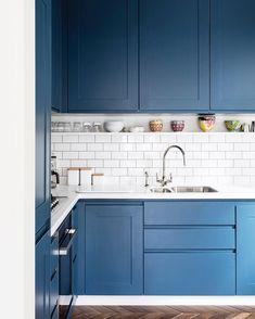 "Allstruct Developments Ltd on Instagram: ""Another happy client in #northlondon #tuffnellpark #kitchen #refurbishment #development #londonproperty #reclaimedflooring #harringbone #metrotiles #blue #bluekitchen #londonkitchen #perrinlowetaps #polishednikel @oliverperrottphoto"" Kitchen Sofa, Blue Kitchen Cabinets, Kitchen Decor, Concrete Kitchen, Studio Kitchen, Kitchen Stories, Kitchen Colors, Interior Design Kitchen, Home Kitchens"