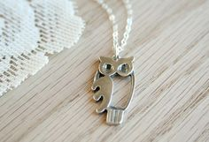 The Curious Owl Necklace - Sterling Silver Simple Pendant Jewelry
