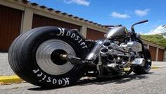 """Ironhead in 4 Speed Frame - I am sure there is plenty of reason to give this bike the O_o look.  Yeah sure, it may not be a super-fast dragster, and skinny bars with fat tires may not help it to carve the corners like a Thanksgiving turkey.  My bet though is that dude that built it will a super cool cat with a ton of great stories.  I dig the bike I really do.  but what I got""""s to know is who is the dude that built this funky cool Frankenstein? - image 0"""