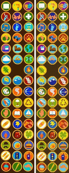 insignias © original de Disney-Pixar.  los pixelados cortesía de mí.