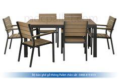 Bộ bàn ghế gỗ thông chân sắt BGS2
