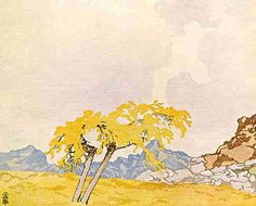 iamjapanese:  Walter J. Phillips(Canadian, 1884-1963) Mountain Larch  1926 colour woodcut on paper