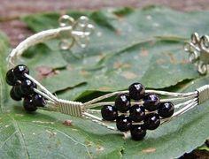 Silver Wire Wrap Cuff Bracelet With Black Czech Glass Beads
