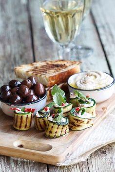Zucchini Rolls with Mint & Feta