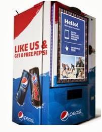 La idea consiste en que a través de su Smartphone las personas podían dirigirse a la página web de pepsi y darle like pero también la vending contaban con una pantalla táctil desde la cual pueden conectarse a Facebook y darle like, una vez que se hayan hecho fan de la página de #Pepsi, esta recompensa al usuario con una lata de soda gratis.