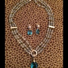 REDUCED--EXQUISITE NECKLACE & EARRING SET  This is a breathtaking MX Collection Set. It has three rows of grayish with a hint of Aqua beads with some olive greenish beads as you can see and silver accents evenly spread out. It has a round decorated silver pendant that can be worn like that or with the clip on Aqua Marina Tear Drop pendant. The pierced earrings are exactly like the clip on pendant. Even the silver closure is beautiful!!!!  Each piece of the set is stamped MX. Macy's Jewelry…